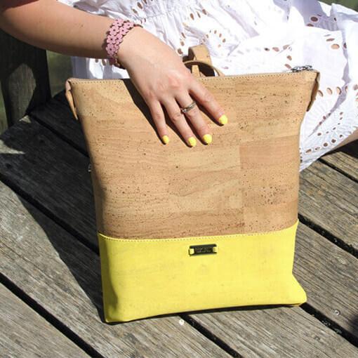 Sac à dos jaune citron en liège pour femme