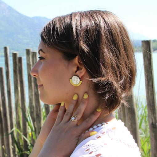 Boucles d'oreilles jaune citron en liège pour femme