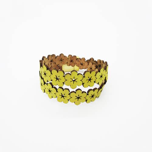 Bracelet jaune citron en liège pour femme