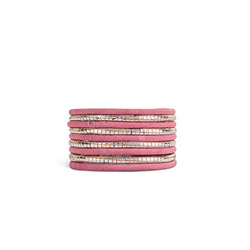 Bracelet rose en liège pour femme