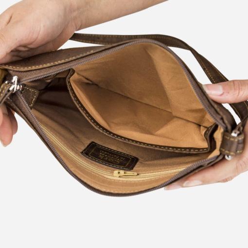 Petit sac épaule marron en liège pour femme