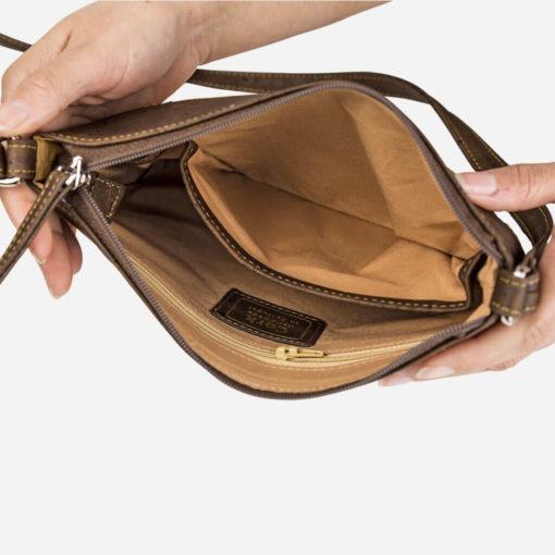 Petit sac épaule naturel et marron en liège pour femme