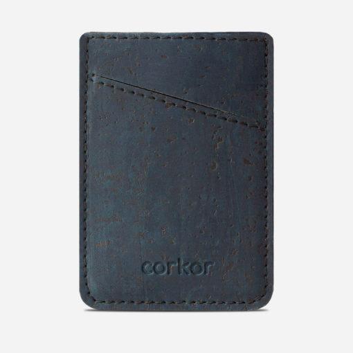 Porte cartes bleu en liège pour homme