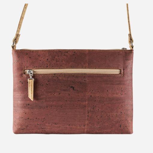 Petit sac épaule rouge brique en liège pour femme
