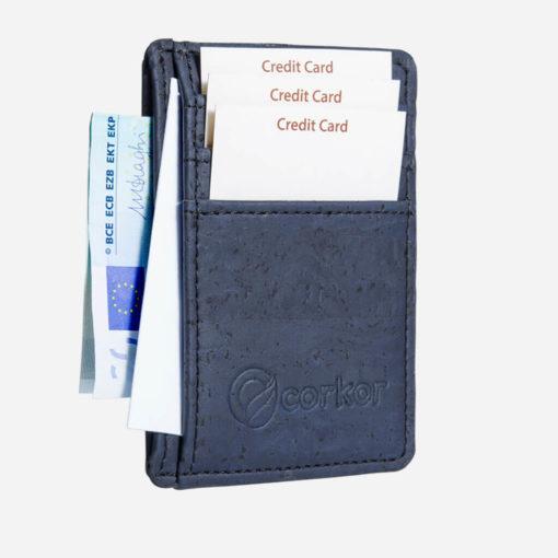 Porte-cartes bleu en liège mixte