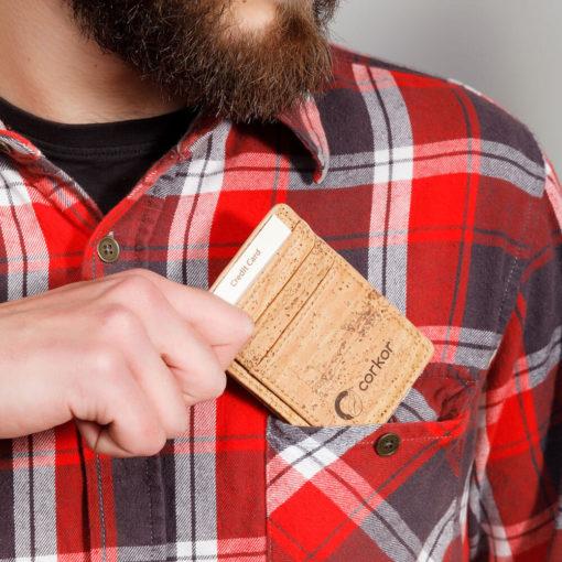 Porte-cartes naturel en liège mixte