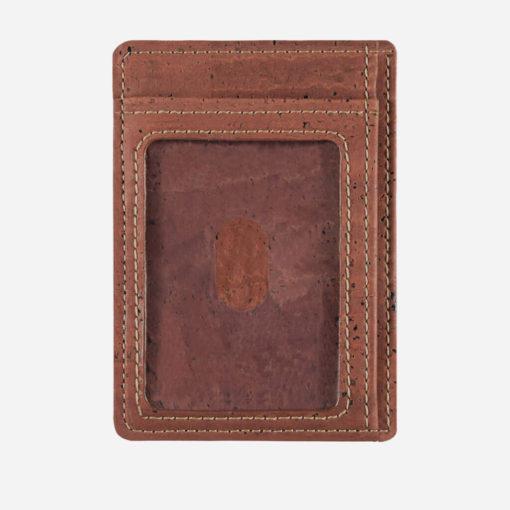 Porte-cartes rouge brique en liège mixte