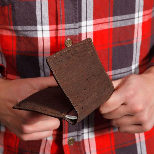 Étui pour passeport marron en liège mixte