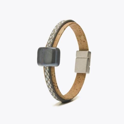 Bracelet gris en liège pour femme