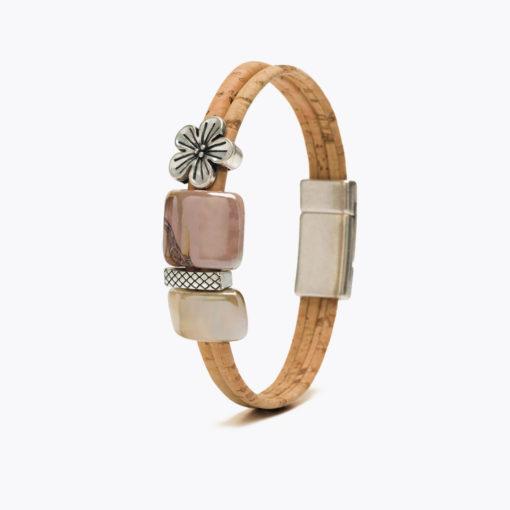 Bracelet argenté en liège pour femme