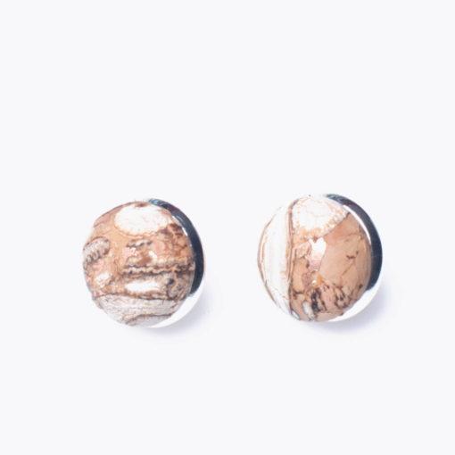 Boucle d'oreille marbre en liège pour femme